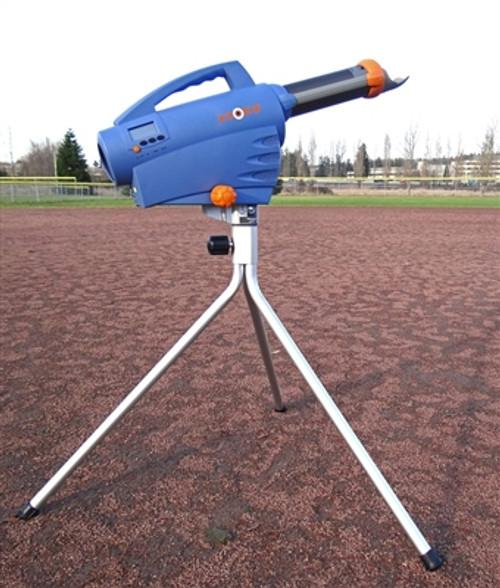 Zooka ZS740 Pitching Machine with a Tall Panning Tripod