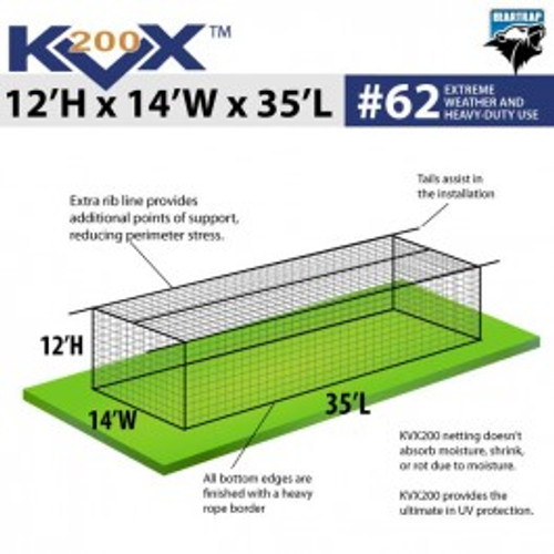 #62 Square Hung Knottless KVX200™ Batting Cage Net