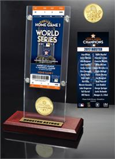 Houston Astros 2017 World Series Champions Ticket & Bronze Coin Acrylic Desk Top