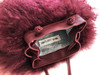 NEW! Cotton Candy Mongolian Fur & Leather Drawstring Mini Bag - Merlot
