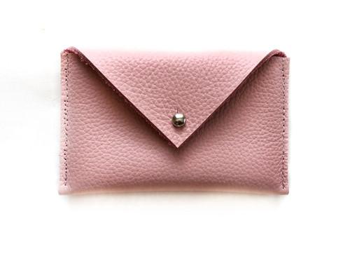 Envelope Leather Card Holder - Blush Pink