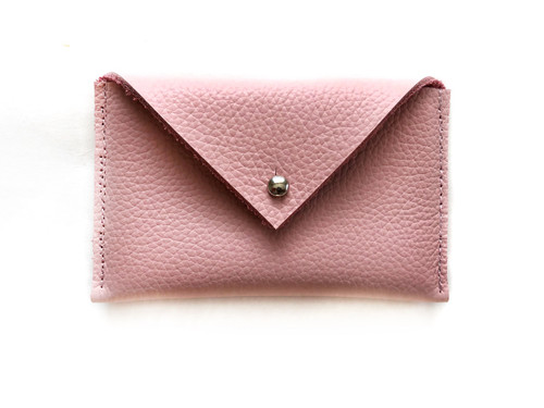 Envelope Leather Card Holder - Blush Pink