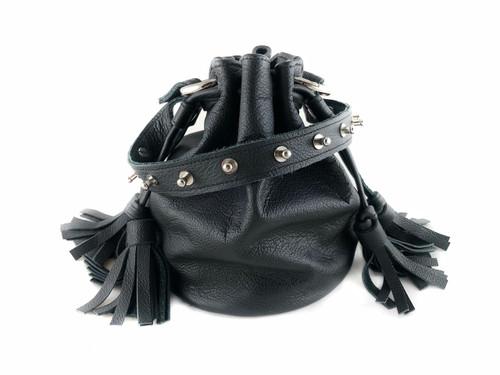 Queendom Studded Leather Mini Bucket Bag