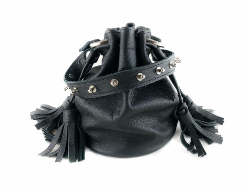 Queendom Studded Leather Mini Bucket Bag