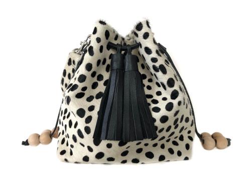 RESTOCKED! Boxie Calf Hair Bucket  Bag - Dalmatian