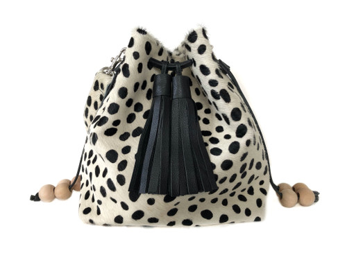 Boxie Calf Hair Bucket  Bag - Dalmatian