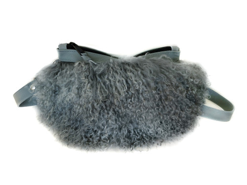 NEW! Pom Pom Mongolian Fur & Leather Waist Bag - Gray