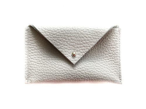 Envelope Leather Card Holder - Dove