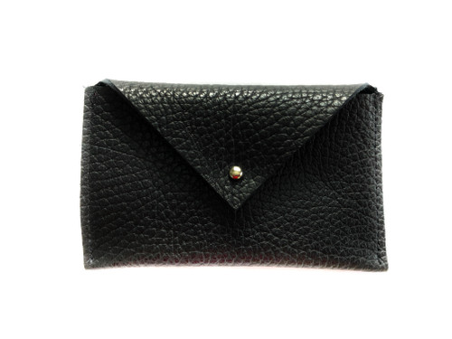 NEW! Envelope Leather Card Holder - Black
