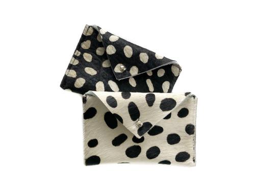 NEW! Envelope Card Holder - Black & White Calf Hair