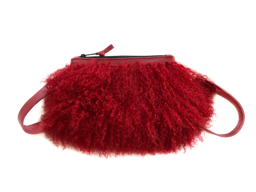 NEW! Pom Pom Mongolian Fur & Leather Waist Bag - Red