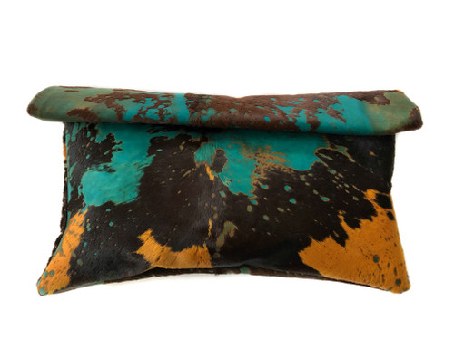 NEW! Acid Wash Calf Hair Roll Down Clutch - Turquoise/Orange/Brown