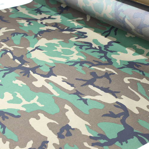 "500D Cordura 60"" wide M81 woodland camouflage Milspec Berry IR Compliant US Made BY THE YARD"