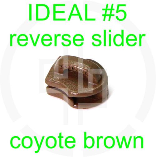 #5 IDEAL coyote brown reverse zipper slider (20 pack)