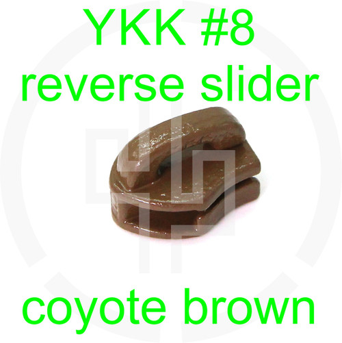 #8 YKK coyote brown reverse zipper slider (20 pack)