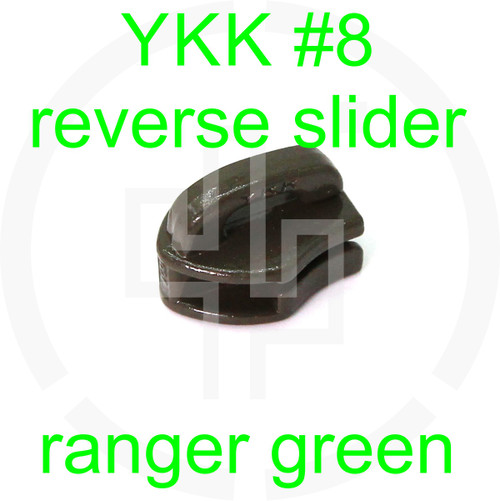 #8 YKK ranger green reverse zipper slider