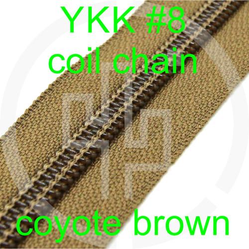 #8 YKK 5/8 coyote brown milspec zipper zipper chain