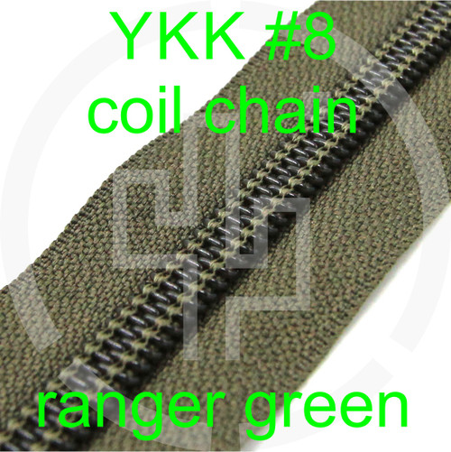 #8 YKK 5/8 ranger green milspec zipper zipper chain (5 yard pack)