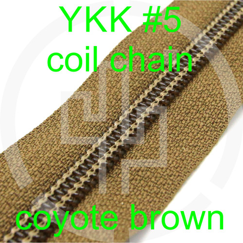#5 YKK 5/8 coyote brown milspec zipper zipper chain (5 yard pack)