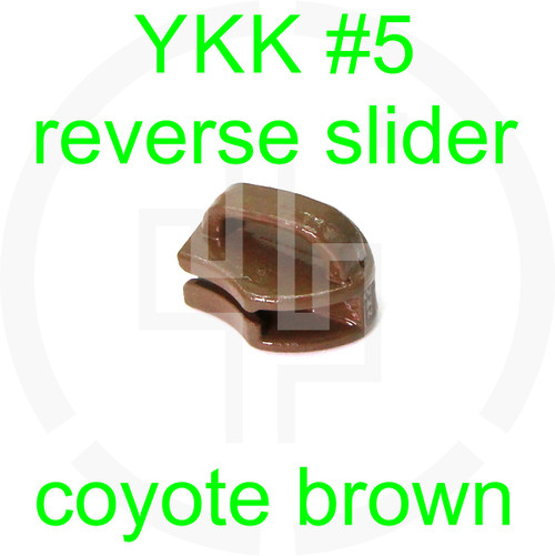 #5 YKK coyote brown reverse zipper slider (20 pack)