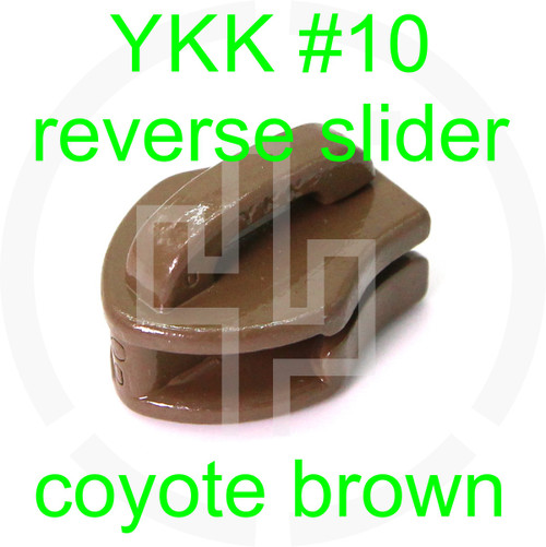 #10 YKK coyote brown reverse zipper slider (20 pack)