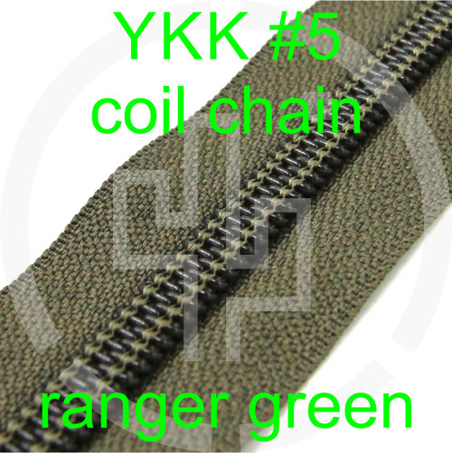 #5 YKK 5/8 ranger green milspec zipper zipper chain (5 yard pack)