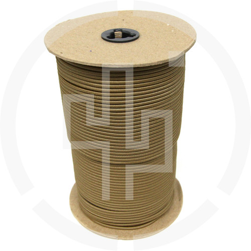 "500 FT Roll Coyote Brown 1/8"" Shock Cord Milspec Berry Compliant Solution Dyed Invista Cordura IRR"