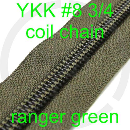#8 YKK 3/4 ranger green milspec zipper zipper chain