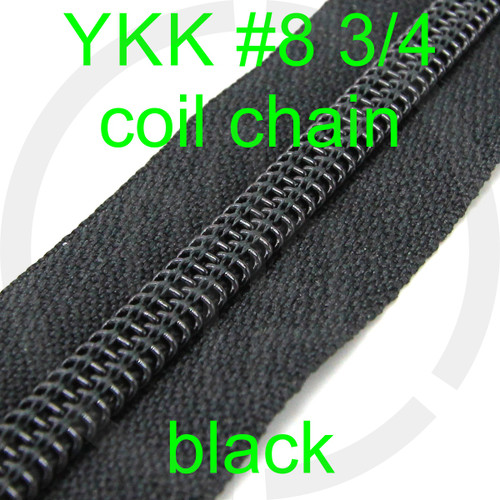 #8 YKK 3/4 black milspec zipper zipper chain