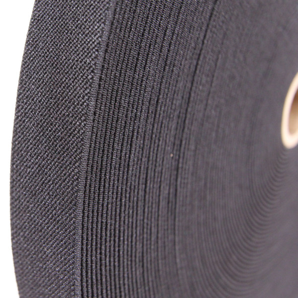 Polyester Elastic Webbing, Woven, 1 inch 25mm, Berry Compliant, black