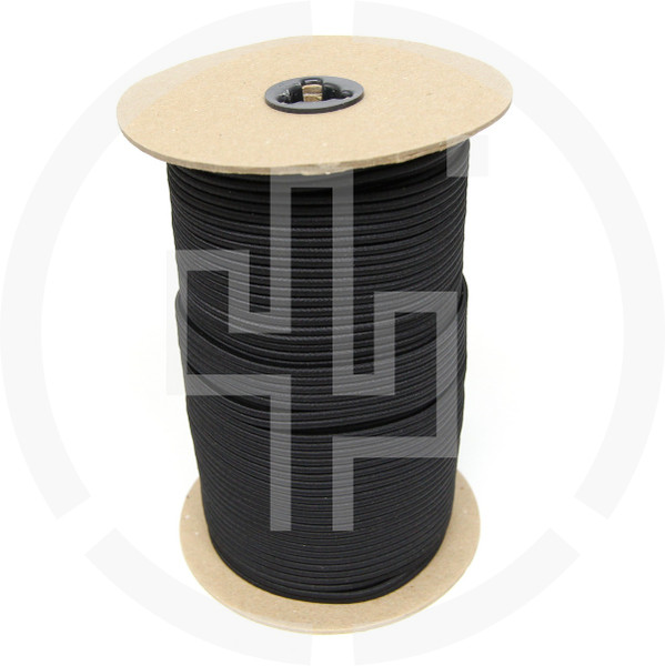 "500 FT Roll Black 1/8"" Shock Cord Milspec Berry Compliant Solution Dyed Invista Cordura IRR"