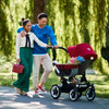 Bugaboo Donkey2 Mono Complete Stroller - Grey Melange Seat and Ruby Red Canopy with Aluminum Frame