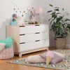 Babyletto Hudson 6-Drawer Double Dresser - Washed Natural and White