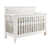 Natart Belmont 5-in-1 Convertible Crib with Diamond Tufted Upholstered Panel - White with White Panel
