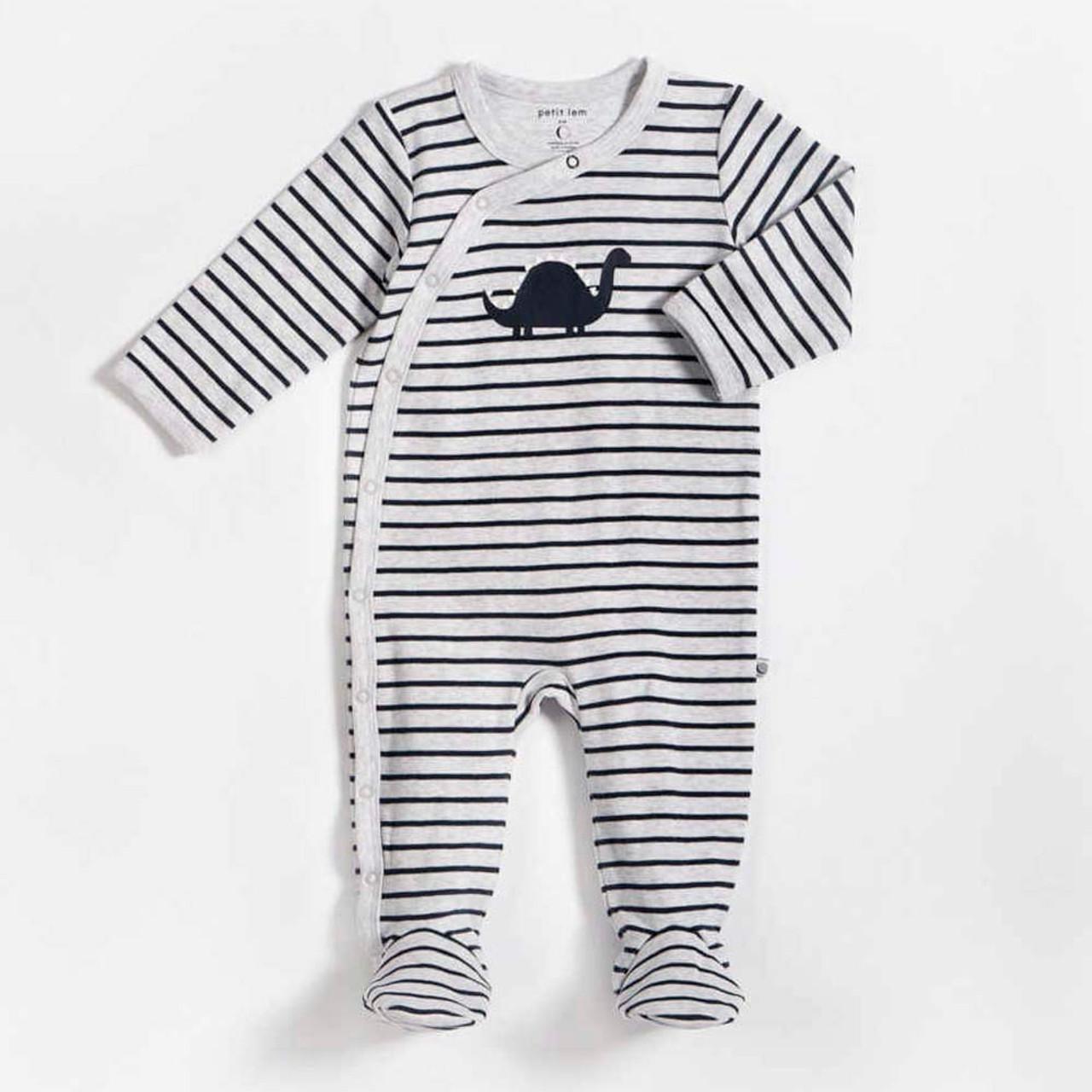 cfe65e282 Petit Lem Organic Cotton Sleeper - Oh Dino Striped Heather Grey (9M ...