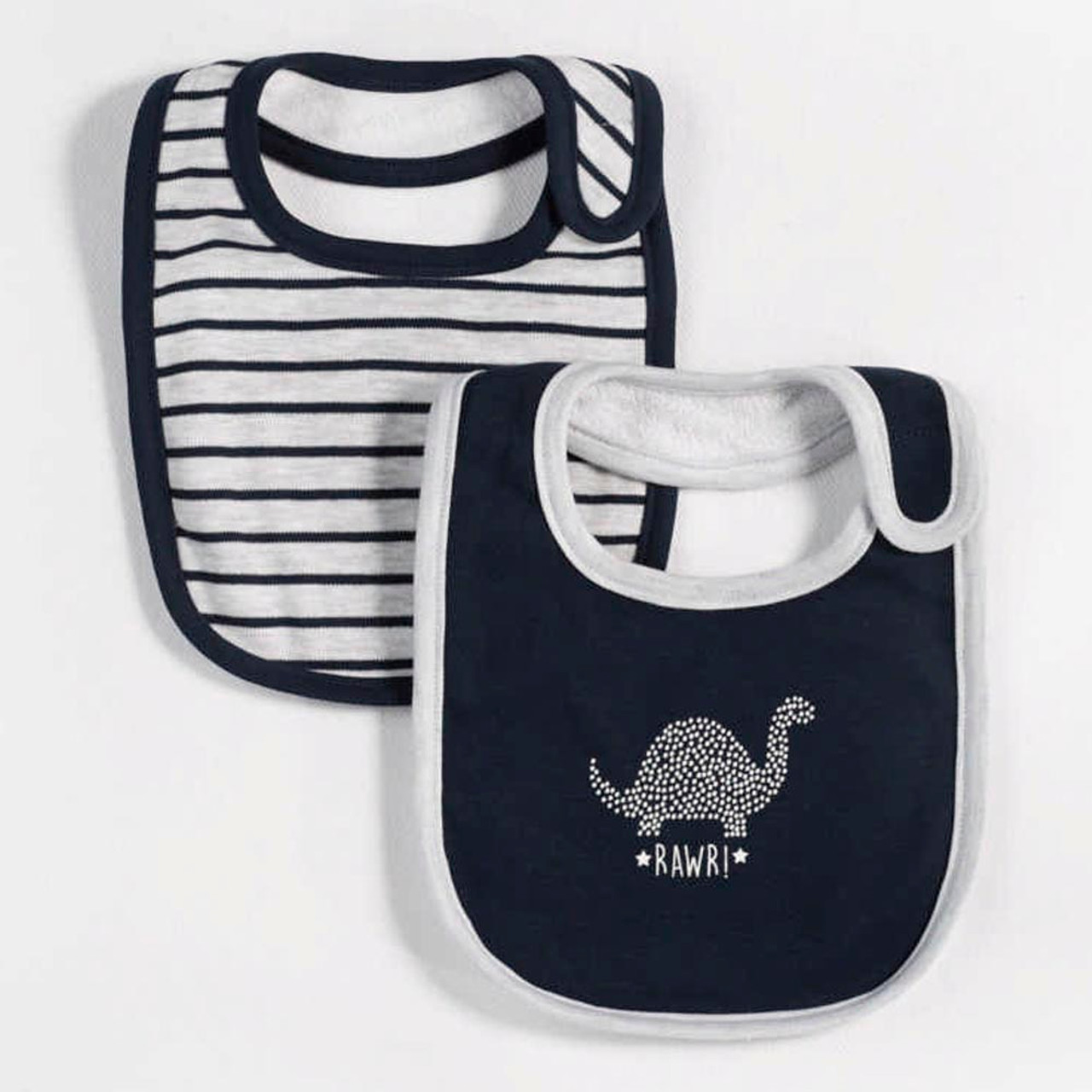 89bad031b Petit Lem Organic Cotton 2-Pack Bibs - Oh Dino Navy - Dear-Born Baby