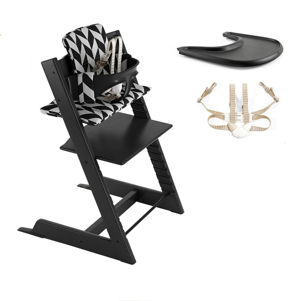 Stokke Tripp Trapp High Chair Complete Black With Black Chevron Cushion