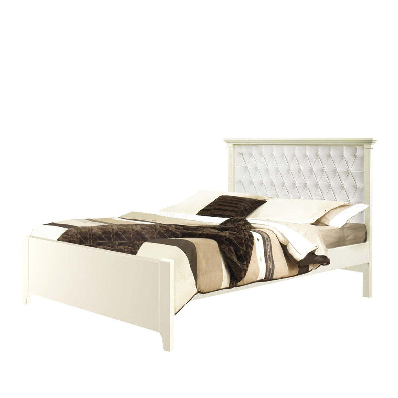 Natart Belmont Double Bed 54 Inch With Low Profile Footboard White With White Diamond Tufted Upholstered Headboard Panel Dear Born Baby