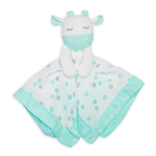 Lulujo Baby Muslin Lovie Blankie Toy - Green Giraffe