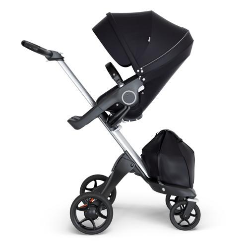 Stokke Xplory V6 Stroller - Black with Silver Chassis & Black Leather