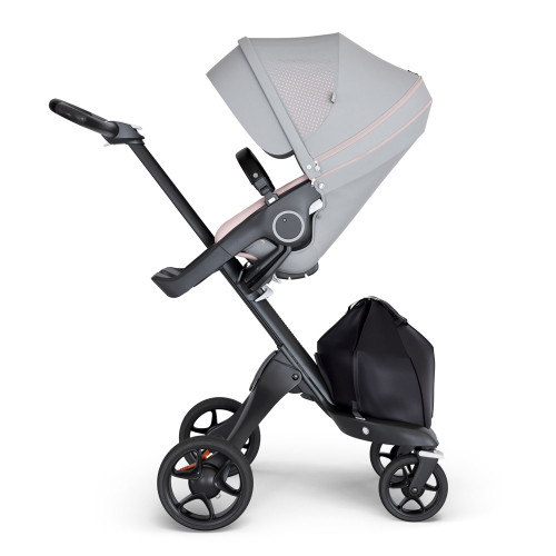 Stokke Xplory V6 Stroller - Athleisure Pink with Black Chassis & Black Leather