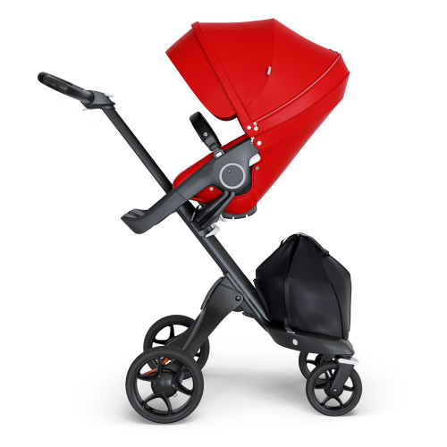 Stokke Xplory V6 Stroller - Red with Black Chassis & Black Leather