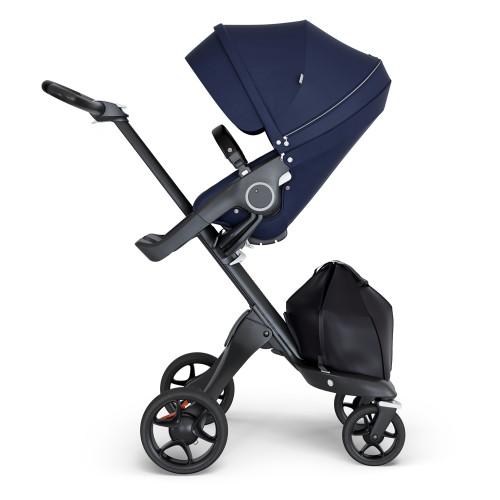 Stokke Xplory V6 Stroller - Deep Blue with Black Chassis & Black Leather