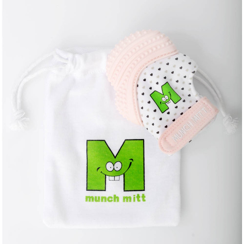 MunchMitt Teething Mitt - Pastel Pink/Hearts