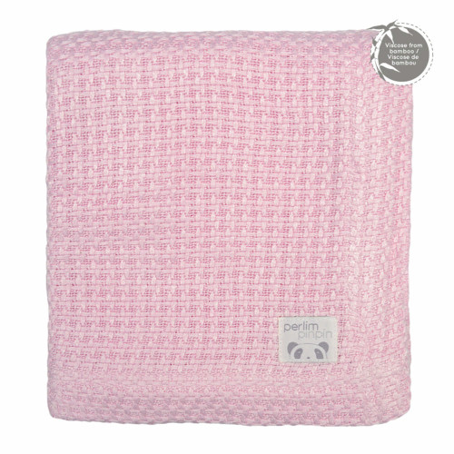 Perlimpinpin Bamboo Knitted Throw Blanket - Pink