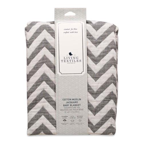 Living Textile Muslin Jacquard Blanket - Grey Chevron