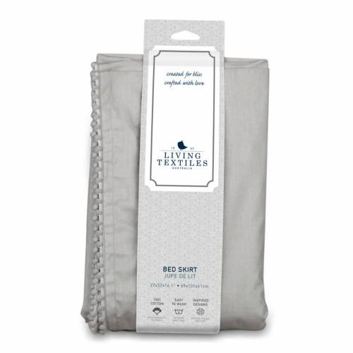 Living Textile Crib Bed Skirt - Grey Pompoms