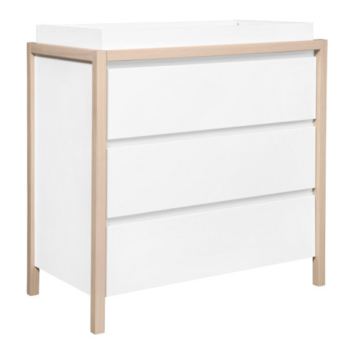 Babyletto Bingo 3-Drawer Changer Dresser - White and Washed Natural