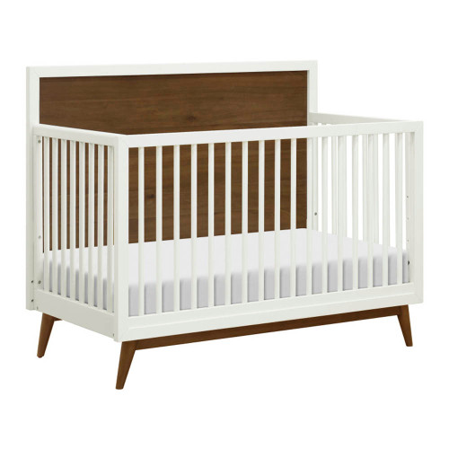 Babyletto Palma 4-in-1 Convertible Crib - White and Natural Walnut