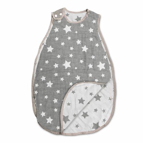 Living Textile Cotton Muslin Jacquard Wearable Blanket - Grey Stars